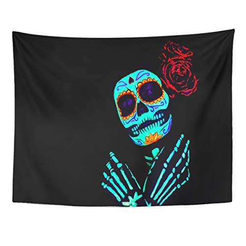 Tarolo Decor Wall Tapestry Young Girl Santa Muerte Saint Death Sugar Skull Bright Make Up Studio Neon Light Celebrating Halloween 80 x 60 Inches Wall Hanging Picnic for Bedroom Living -
