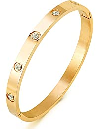 Jewelry 18 K Gold Bangle Bracelet CZ Stone Hinged Stainless Steel with Crystal Bangle for Women Small Size 6.7""