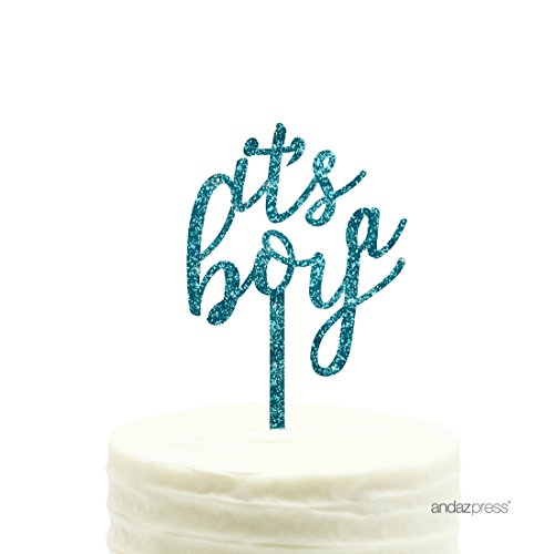 Andaz Press Baby Shower Acrylic Cake Toppers, Diamond Blue Aqua Glitter, It's A Boy, 1-Pack Baby Shower Diamond