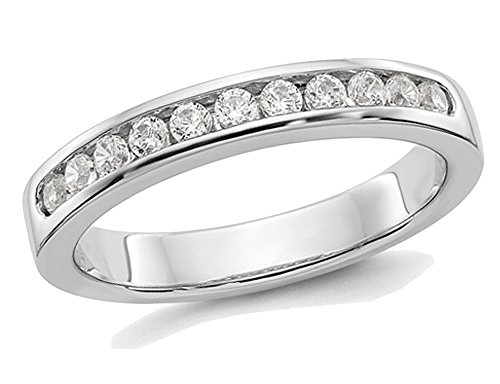 Ladies Platinum 1/3 Carat (ctw Color H-I, I2-I3) Semi Eternity Diamond Channel Set Wedding Band ()