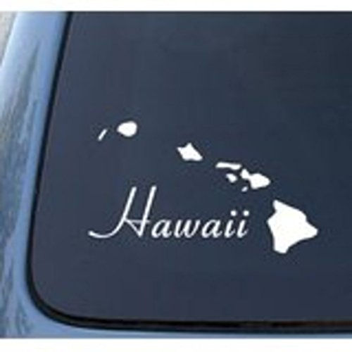"NI160 HAWAII - Tropical Islands - Car, Truck, Notebook, Vinyl Decal | Vinyl Color: White | 7.5"" X 4.3"""