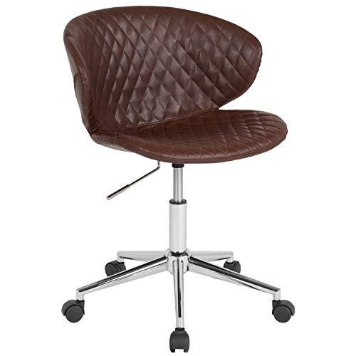 - ERGONOMIC HOME Cambridge Home and Office UPHOLSTERED MID-Back Chair in Brown Vinyl