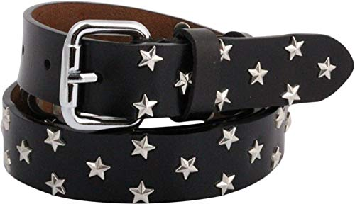 Nite closet Pink Black Leather Belts for Women Star Studs Punk Rock (Black, womens 4-10) (Belt Studded Star)