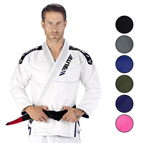 Elite Sports New Item IBJJF Ultra Light BJJ Brazilian Jiu Jitsu Gi w/Preshrunk Fabric & Free Belt (White, - Arts Jitsu Martial Jiu