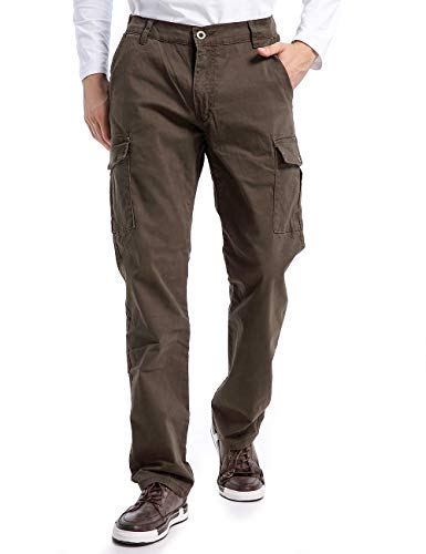 Eaglide Mens Elastic Waist Cotton Casual Pant, Mens Relaxed Classic Fit Straight Leg Cargo Pants