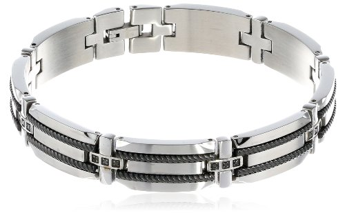 Men's Stainless Steel Bracelet with Black Diamond-Accent and Black Plated Rope Inlay