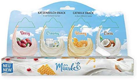 Muuske Snacks de Leche Natural y sin Lactosa para Gatos, 2 Packs de 4 Unidades.: Amazon.es: Productos para mascotas