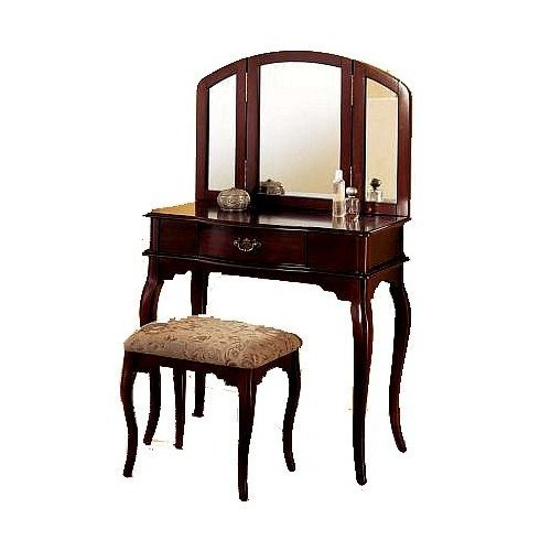 (acme Queen Anne Style Cherry Finish Wood Vanity Set - Table, Bench & Mirror )