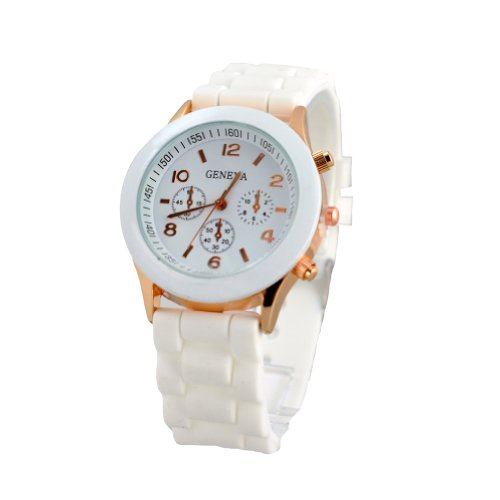 Unisex Silicone Gel Ceramic Style Jelly Band Classic Watch White (Watches Women Jelly compare prices)