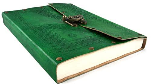 "Leather Diary Journal Forest Green Embossed with Clasp Lock 9"" x 7.5"" Handmade Paper 100 Pages"