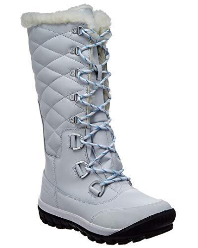 - BEARPAW Women's Isabella Waterproof Boots, White Leather, Sheepskin Fur, Wool, 5 M
