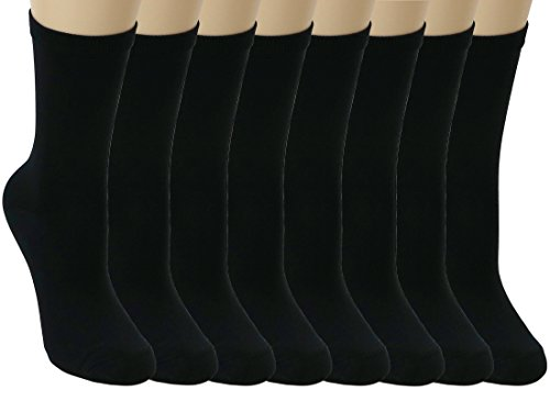 Lightweight Ped Socks (Peds, Ladies Lightweight Crew Dress Socks - Black - Size 5-10 - 8 Pairs)