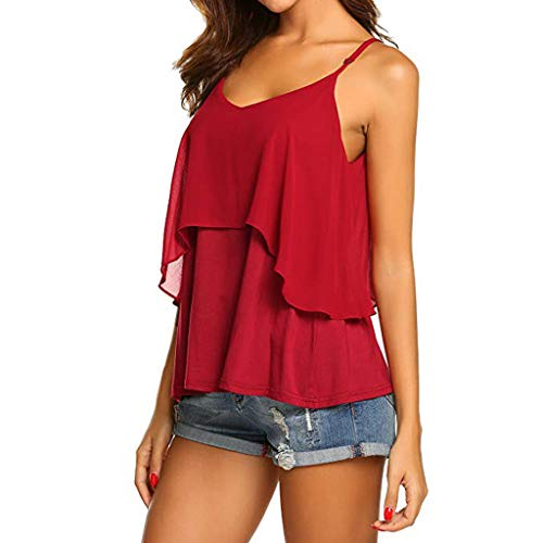 2019 Women Sexy V Neck Sleeveless Camis Summer Tank Tops Patchwork Casual Blouses (Red, XL) by Tanlo (Image #3)