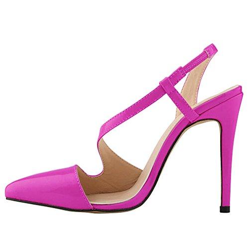 fereshte Womens Shoe High Heeled Snake Skin Dress Pump Sandals Candy Color Purple QJednKcJ