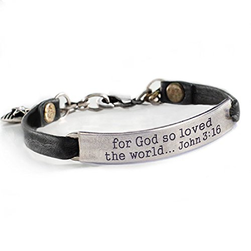 Sweet Romance For God so Loved the World John 3:16 Inspirational Leather Band Bible Message Bracelet (Black Leather)