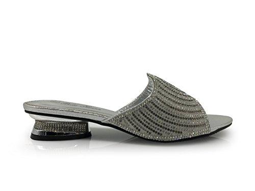 Disley Womens Classico Elegante Sandali Basso Pantofola Sandalo Strass Piattaforma Di Partito Di Nozze Open Toe Cuneo Scarpe Argento