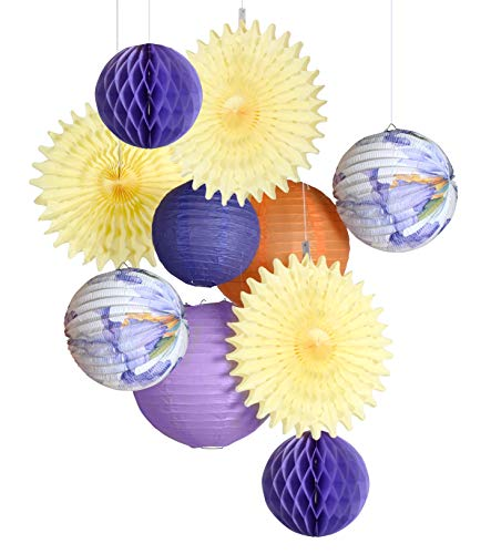PAPER JAZZ Accordion Lantern Set for Wedding Summer Pool Party Birthday Orchid Tropical Theme Party Decoration (Purple Flower)