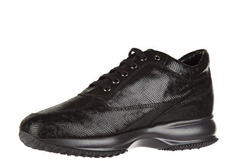 Hogan chaussures baskets sneakers femme en cuir interactive h studs noir