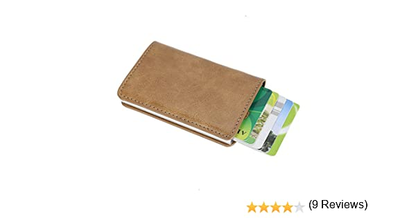 sciuU Cartera Tarjeta de Crédito, Bloqueo RFID, Cartera de Aleación de Aluminio Multiuso Bolsillos, Cuero PU Exterior, Beige