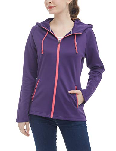 (Little Donkey Andy Women's Full Zip Hoodie, Fleece Lined Workout Running Jacket, Thermal Hooded Sweatshirt, Quick Dry and Breathable Purple Size M)