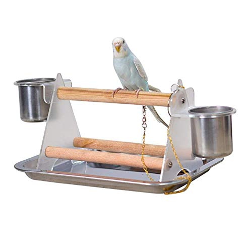 PanDaDa Pet Bird Play Stand, Acrylic Bar Large Stainless Steel Tray Feeder Parrot Perch Triangle Stand Feeding Bowls with 2 Feeding Cups for Water and Food, Parrot Pet Bird Perch Table Play T-Stand