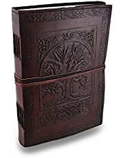 Lederen notitieboek Journaal boom van leven reliëf reisdagboek, vintage schrijven boek voor vrouwen meisjes tieners, antiek zacht rustiek echt leer dagboek 25 x17cm verjaardag cadeau schetsboek