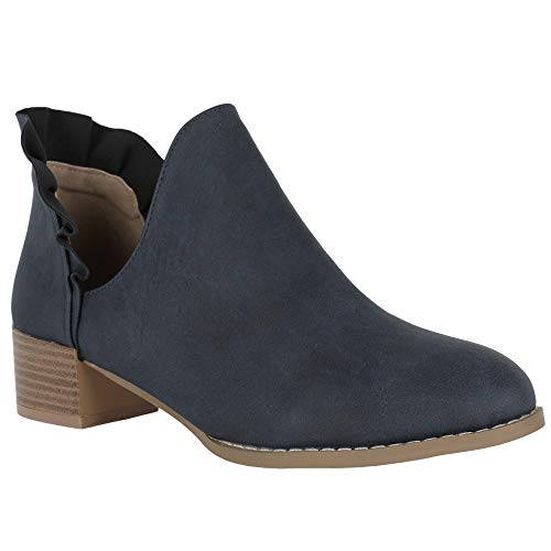 Womens Ruffle Bootie - FISACE Womens Ruffle Cut Out Ankle Booties Slip On Chunky Low Heel Cowgirl Boots Navy