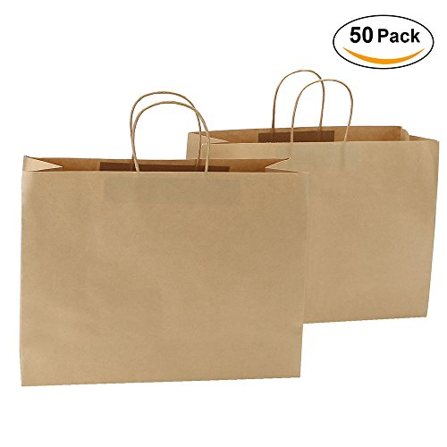 Road 16x6x12 Inches Large Kraft Brown Paper Bags with Handles, Shopping, Grocery, Mechandise, Party Bags (50)