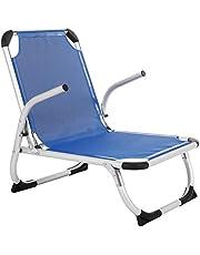 SONGMICS Strandstuhl, Klappstuhl, Aluminium, tragbarerer Campingstuhl, faltbar, leicht und komfortabel, atmungsaktives Textilene-Gewebe, hoch belastbar, Outdoor Stuhl, blau GCB64BU