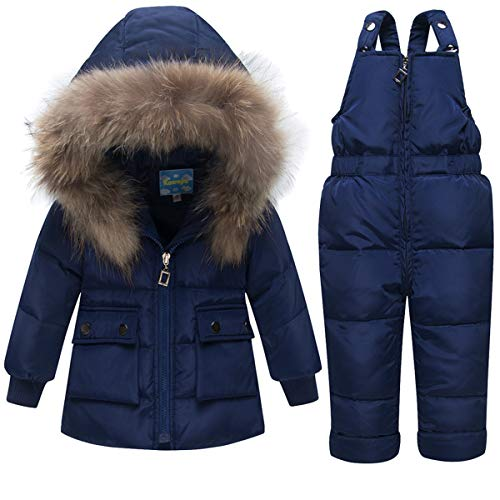 2 Piece Baby Winter Snowsuit Puffer Down Jacket Girls Boys Hooded Fur Trim Zipper Coat with Snow Ski Bib Pants