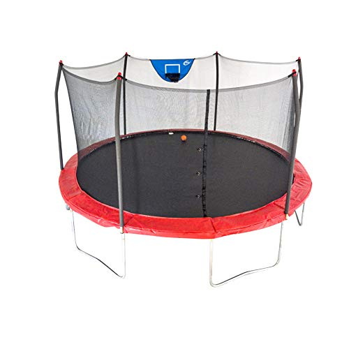 Skywalker Trampolines 15-Foot Jump N' Dunk Trampoline with Enclosure Net - Basketball Trampoline, Red