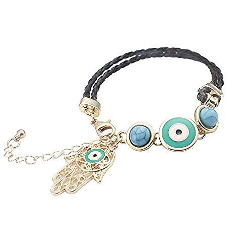 MyevilEye Leather Bangle Braided String Cord Evil Eye Bracelet with Hamsa Hand (Green / Gold)