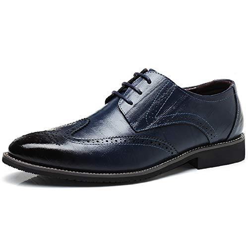 Elegant Herren Blau Business Derby Anzugschuhe Oxford Hochzeit LILY999 Lederschuhe Schnürhalbschuhe nXdxzXO