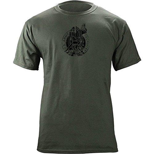 Vintage Army Recruiter Badge Subdued Veteran T-Shirt (XL, Green)