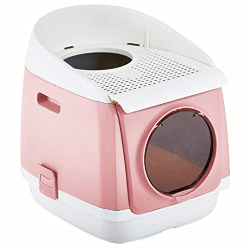Cat Litter Box Jumbo, Portable Fold Petlife Cat Toilet, Double Door Cat Litter Box, PP Resin Litter Tray, Deodorant Fully Enclosed Cat Box, for Cat or Dog Use Pots,Red