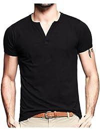Men's Summer Short V-neck Casual T-shirt Cotton Top Shirt For Men