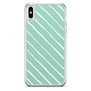 Apple iPhone X Transparent Edge Confetti Pattern Soft Green and White - Multi Color
