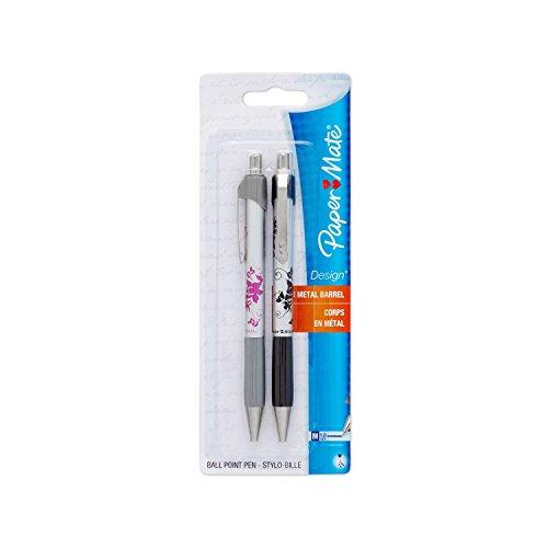 Paper Mate Design Retractable Medium Point Pens, 2 Floral Design Black Ink Pens