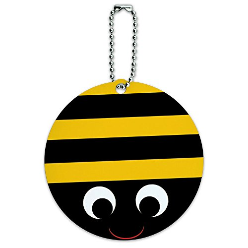 Bumble Bee Party Girl Birthday Round Luggage ID Tag Card Suitcase Carry-On (Bumblebee Suit)
