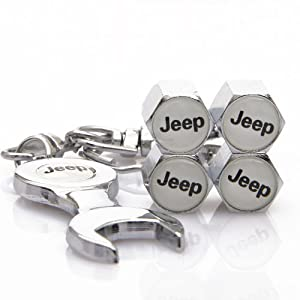 D&R Wrench Keychain Chrome Tire Valve Stem Caps for Jeep by DR