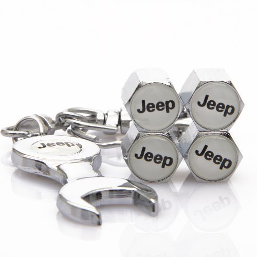 DR Wrench Keychain Chrome Tire Valve Stem Caps for Jeep