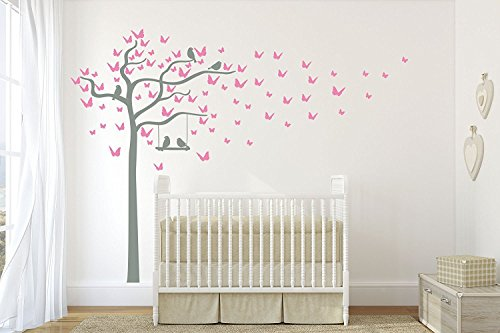 DESIGN DIVIL'S Superior Butterfly and Birds Swinging Tree. Quality Vinyl Matte Wall Decal Sticker - 95' Wall