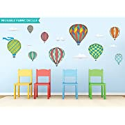 Sunny Decals Hot Air Balloons Fabric Wall Decals, Standard, Rainbow
