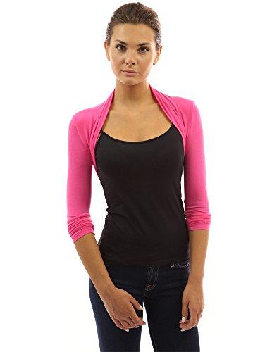 PattyBoutik Women Long Sleeve Bolero Shrug (Dark Pink X-Large)