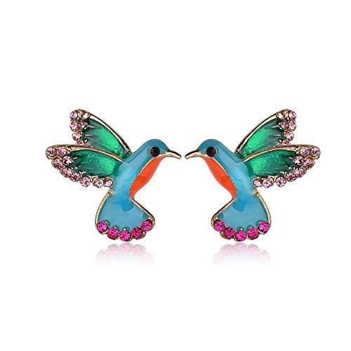 Punk Green Enamel Crystal Hummingbird Bird Stud Earring for Women Colorful Metal Animal Studs Earring Statement Jewelry (Hummingbird)