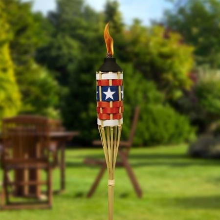 TIKI® Brand Americana Bamboo Torches with FlameKeeper™ - Set of 4 by BLOSSOMZ