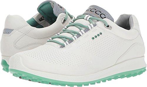 ECCO Women's Biom Hybrid 2 Perforated Golf Shoe, White/Granite Green Yak Leather, 7 M US