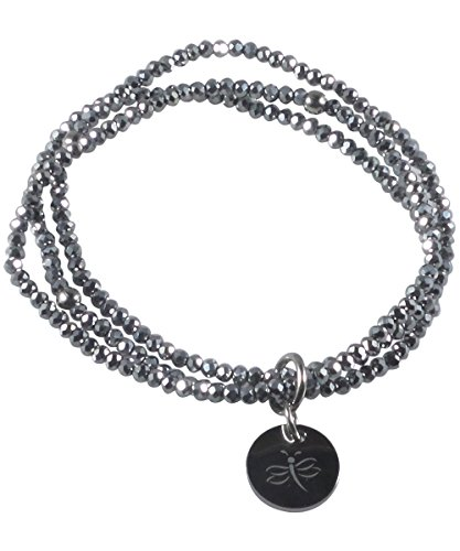 Dragonfly Bracelet for Women Handcrafted Glass Beads (Grey) ()