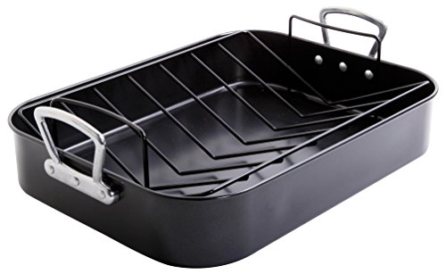 - Gibson Home 89134.02 Broxton 2 Piece Non-Stick Turkey Roaster, Black