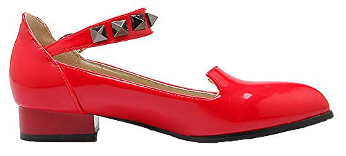 Amoonyfashion Mujeres Tachonado De Cuero De Charol Hebilla Con Punta Estrecha Bombas-zapatos Rojo